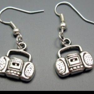 Boom box earrings silver jewelry women's
